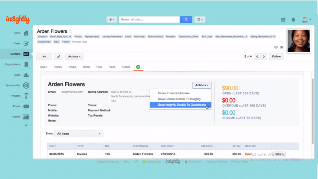 Quickbooks and Insightly Integration