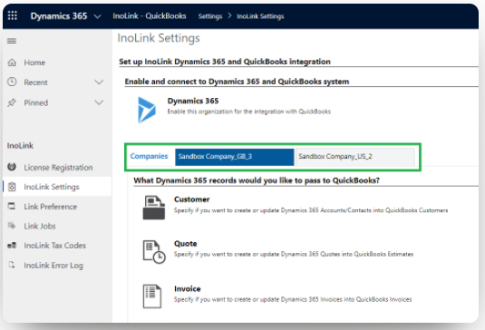 Integration of Microsoft Dynamics 365 and Quickbooks with Inolink