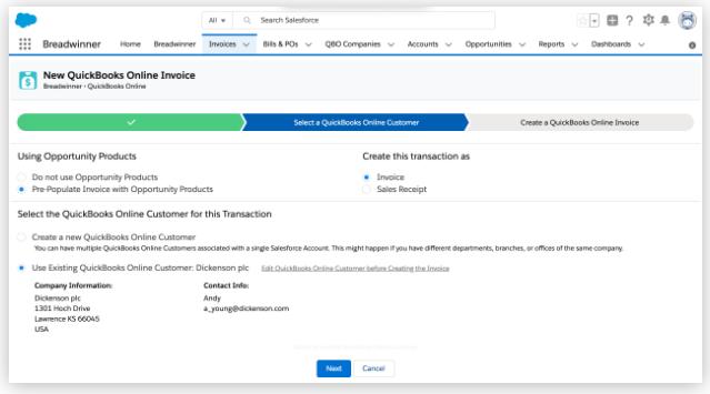 Integration of Salesforce and Quickbooks using Breadwinner