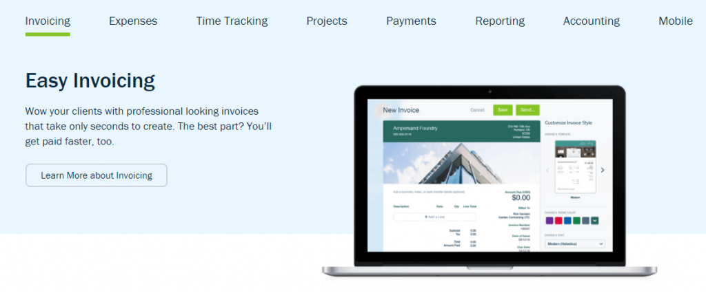 Freshbooks features