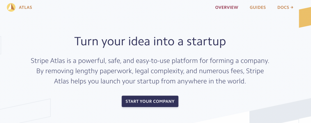 Stripe Atlas: Easy-to-use platform for forming a company