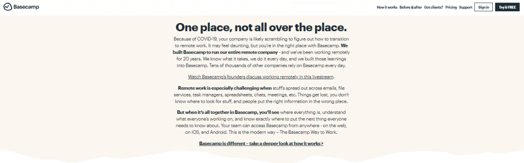 Basecamp: Project management and team communication software