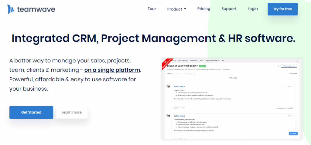 TeamWave - Integrated CRM, PM and HRM Software
